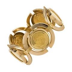1960s Retro 18 Karat Yellow Gold Coins Bracelet
