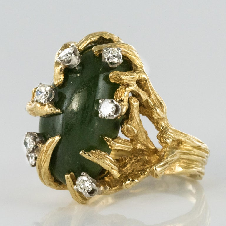 Retro 1960s Yellow Gold Jade Diamond Arthur King Spirit Modernist Ring For Sale