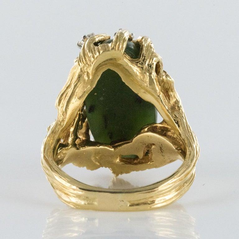 1960s Yellow Gold Jade Diamond Arthur King Spirit Modernist Ring For Sale 6