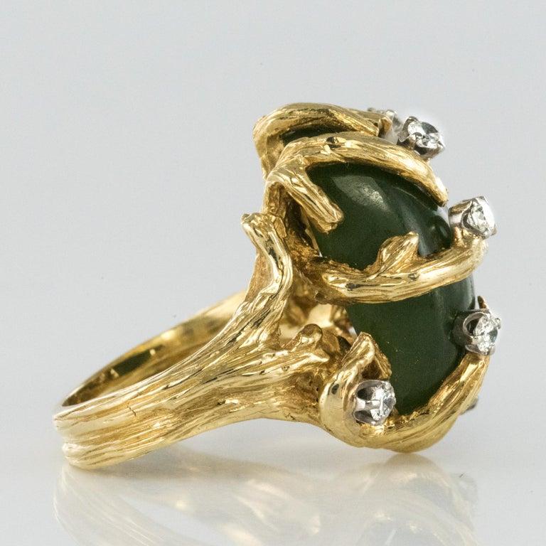 1960s Yellow Gold Jade Diamond Arthur King Spirit Modernist Ring For Sale 1