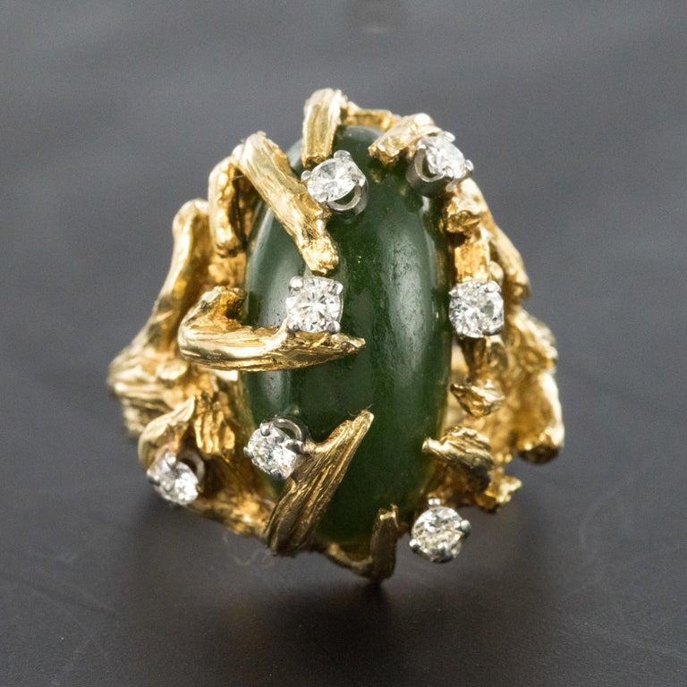 1960s Yellow Gold Jade Diamond Arthur King Spirit Modernist Ring For Sale 4