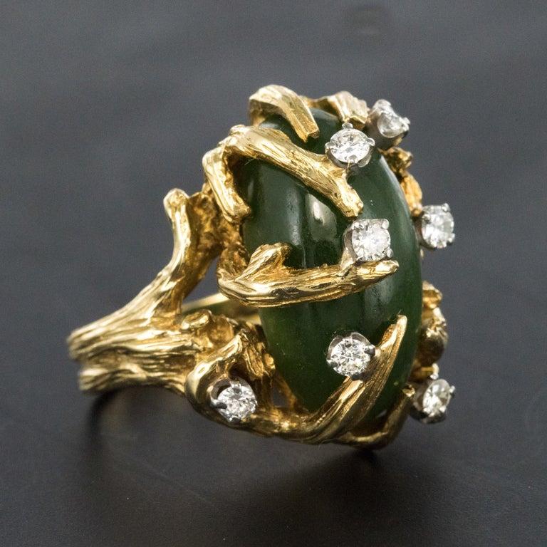 1960s Yellow Gold Jade Diamond Arthur King Spirit Modernist Ring For Sale 5
