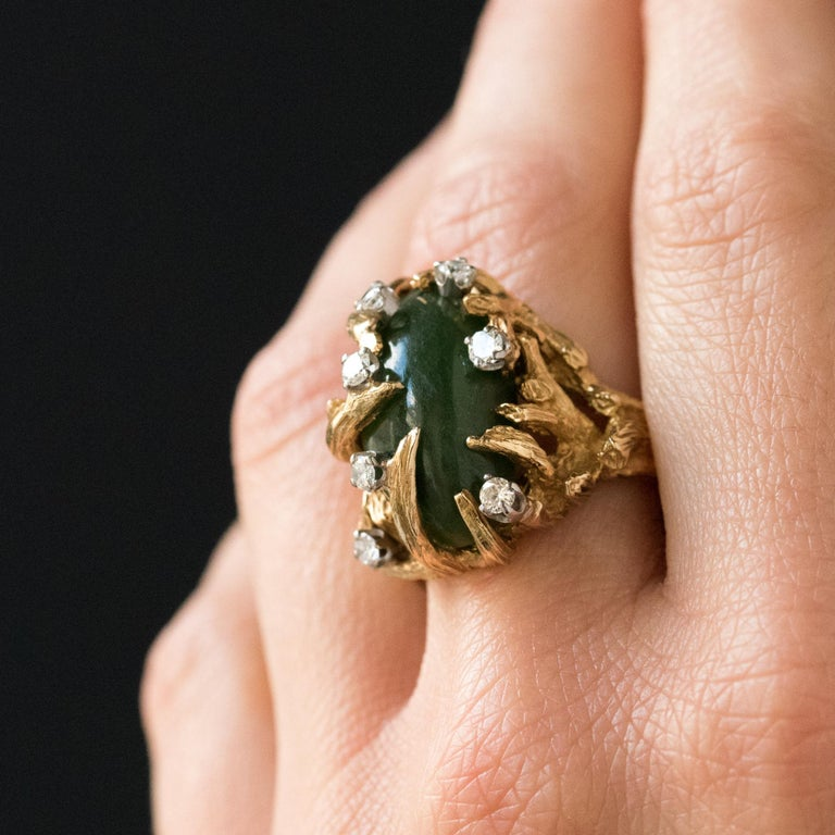 1960s Yellow Gold Jade Diamond Arthur King Spirit Modernist Ring In Good Condition For Sale In Poitiers, FR