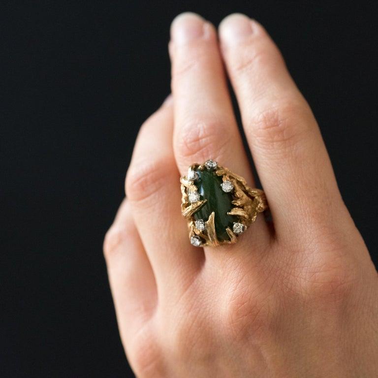 1960s Yellow Gold Jade Diamond Arthur King Spirit Modernist Ring For Sale 3