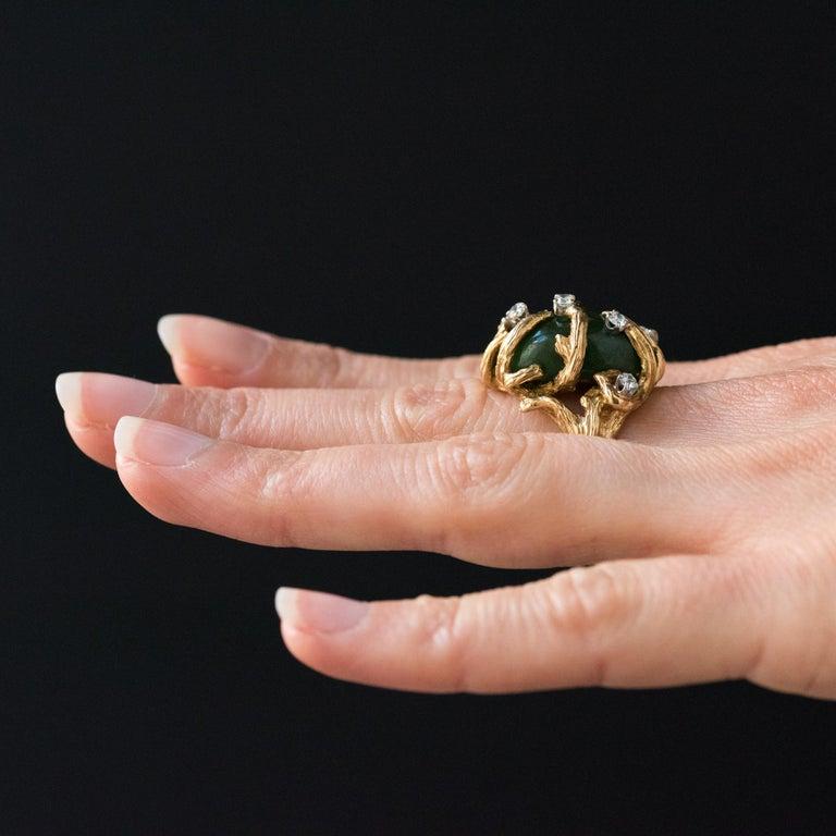1960s Yellow Gold Jade Diamond Arthur King Spirit Modernist Ring For Sale 2