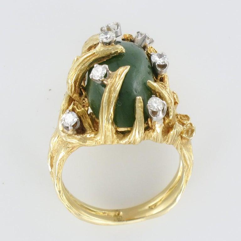 1960s Yellow Gold Jade Diamond Arthur King Spirit Modernist Ring For Sale 7