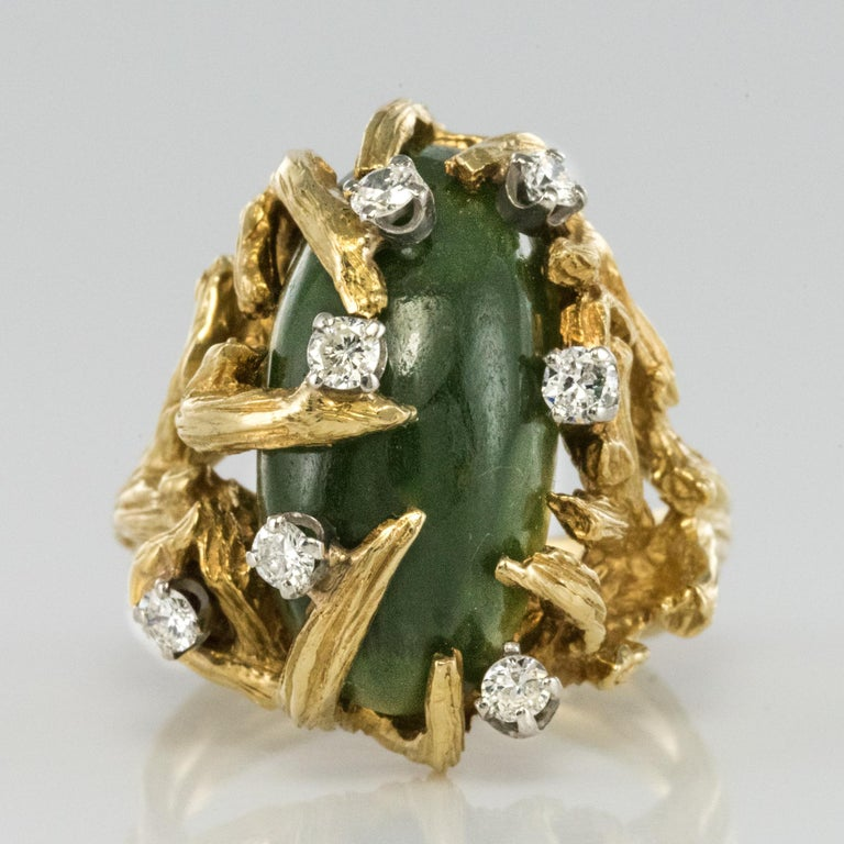 1960s Yellow Gold Jade Diamond Arthur King Spirit Modernist Ring For Sale 8