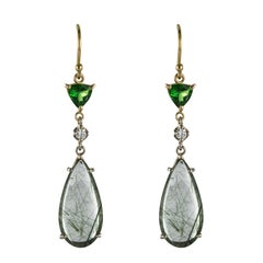 Baume Creation Rutilated Quartz Tsavorite Garnet Diamond Dangle Earrings