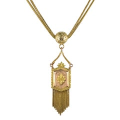 Napoleon III French 18 Karat Yellow Rose Gold Medallion Chains Necklace