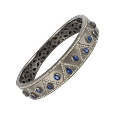 New Silver Diamond Kyanites Bangle Bracelet