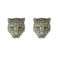 New Diamond Silver Panther Stud Earrings