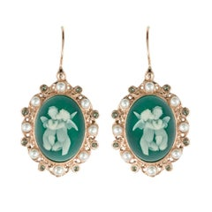 Italian Crystal Angel Cameo Crystal Pearl Vermeil Drop Earrings