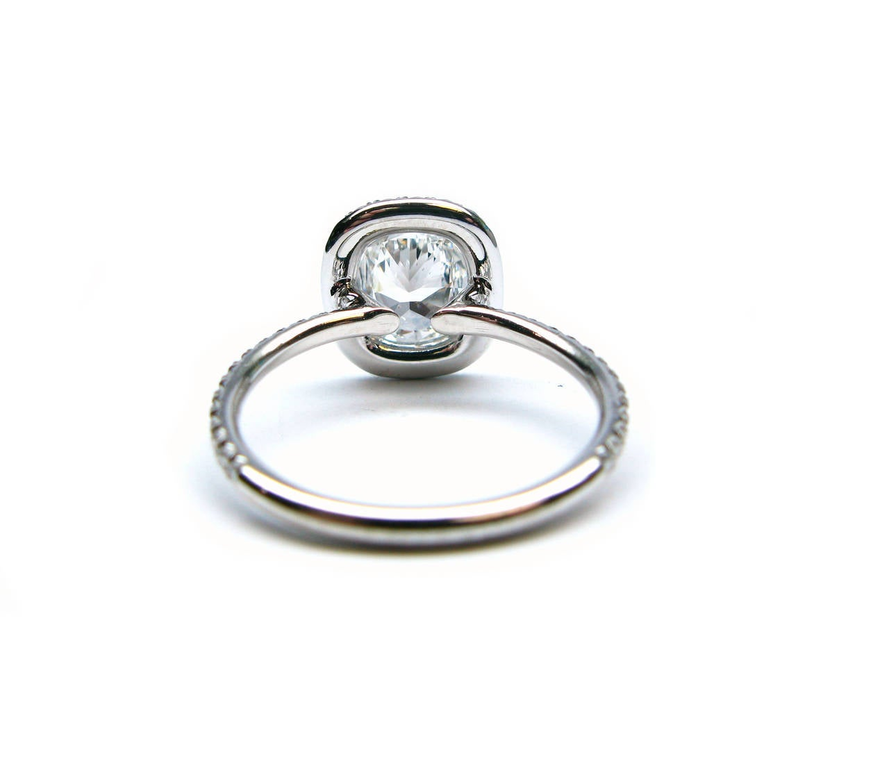1.12 Carat Cushion Cut Diamond Platinum Ring In As new Condition For Sale In New York, NY