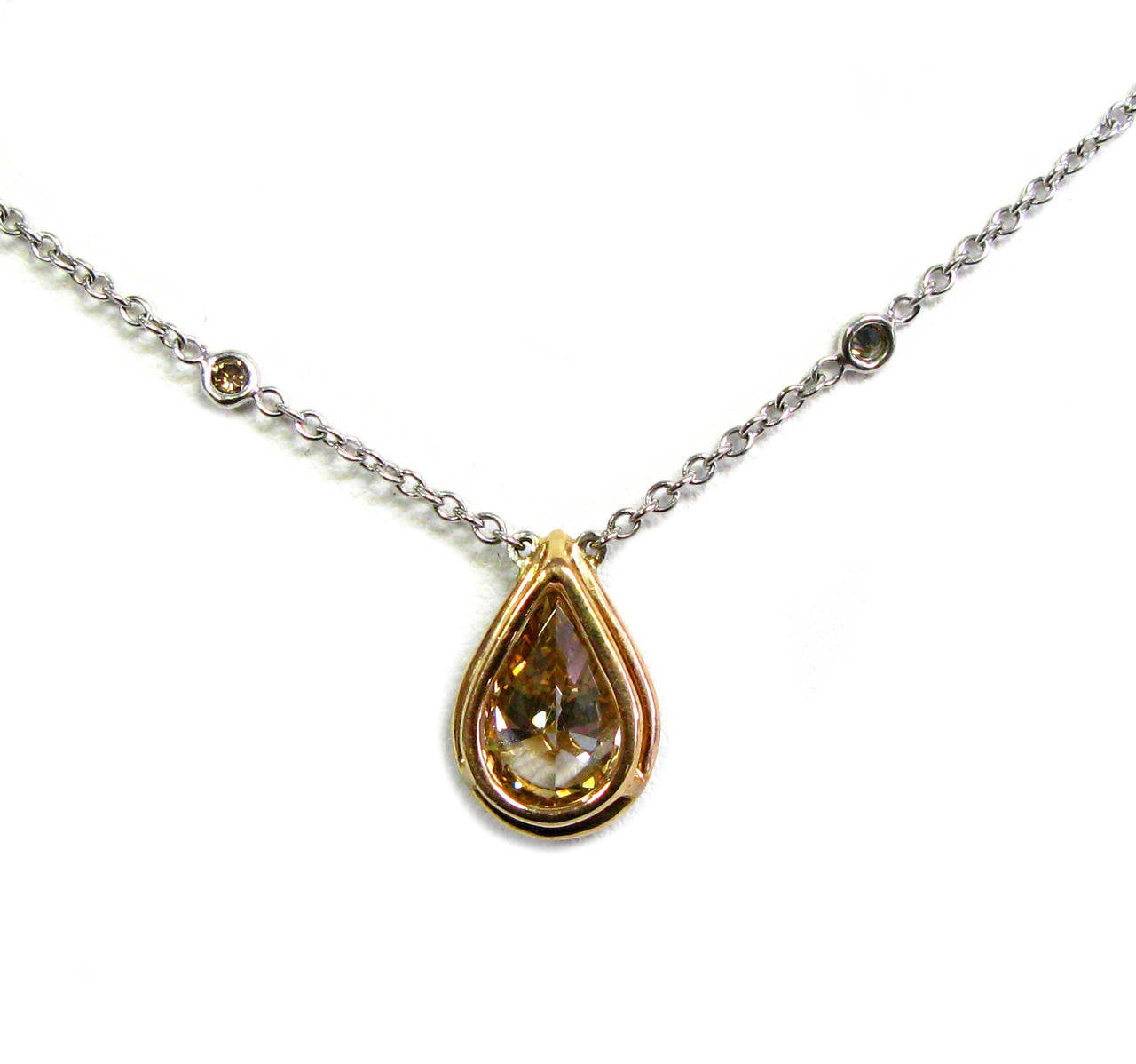Natural Fancy Cognac Color GIA certified Pear Shape Diamond Pendant In New Condition For Sale In New York, NY