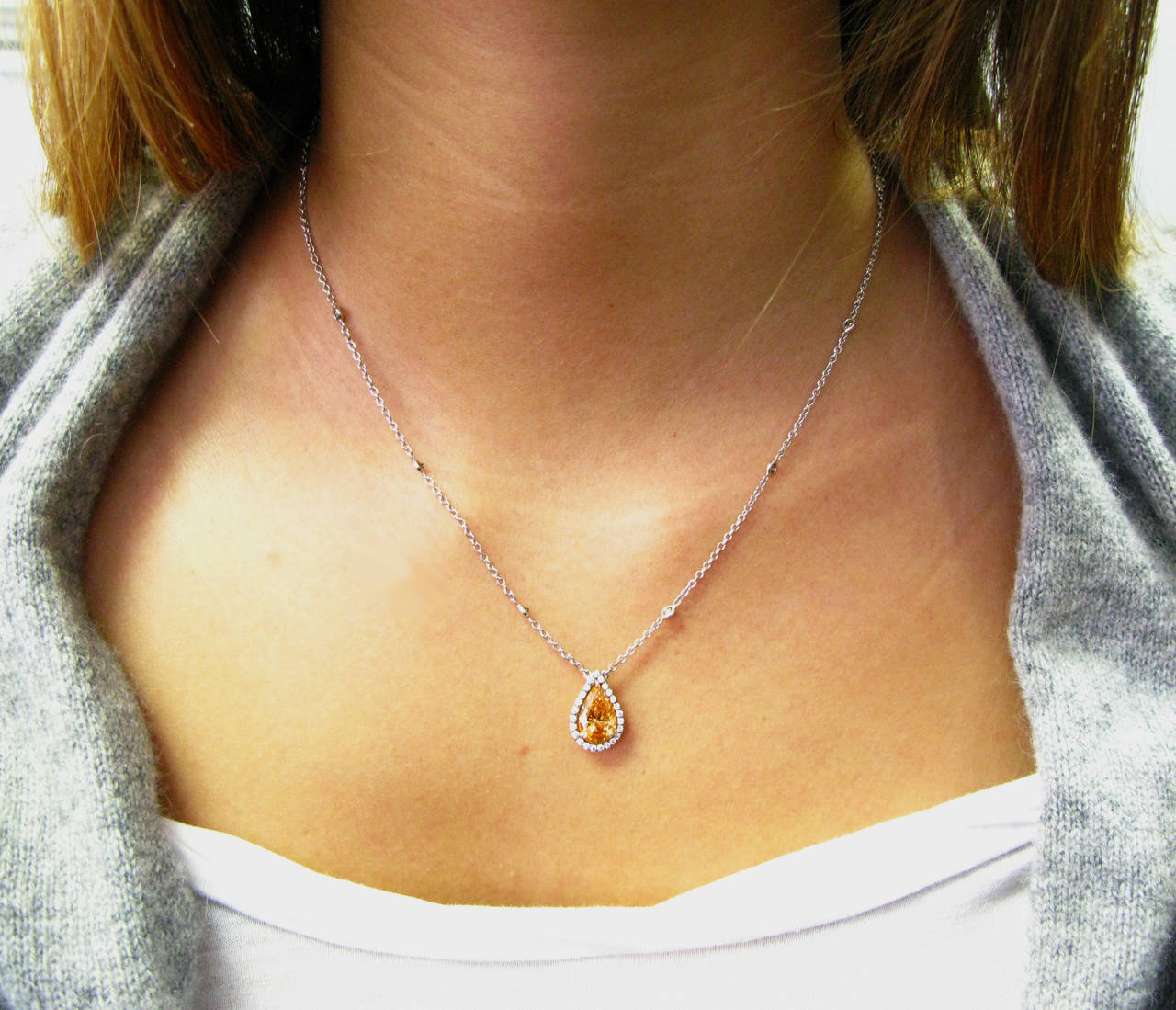 Women's Natural Fancy Cognac Color GIA certified Pear Shape Diamond Pendant For Sale