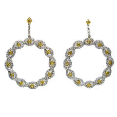 Yellow Princess and White Pave Diamond Circle Earrings