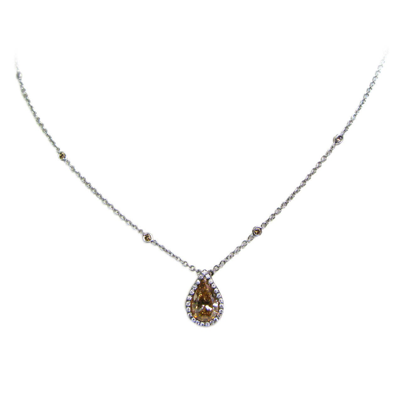 Natural Fancy Cognac Color GIA certified Pear Shape Diamond Pendant For Sale