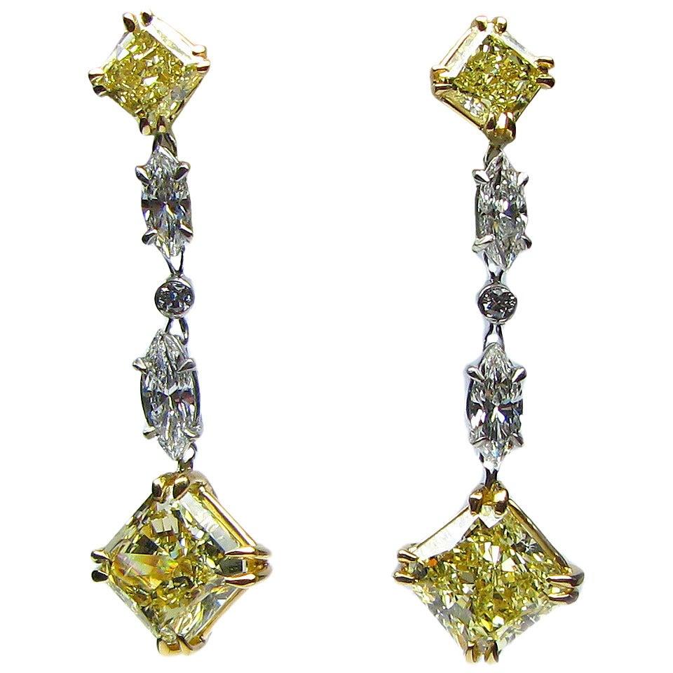 GIA Fancy Yellow Radiant Cut Diamond Gold Drop Earrings