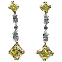 GIA Fancy Yellow Radiant Cut Diamond Gold Drop Earrings