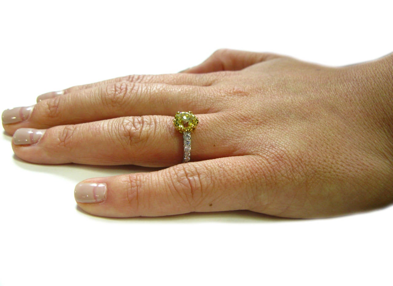 1.92 Carat GIA Fancy Intense Yellow Old Mine Brilliant Diamond Ring 6