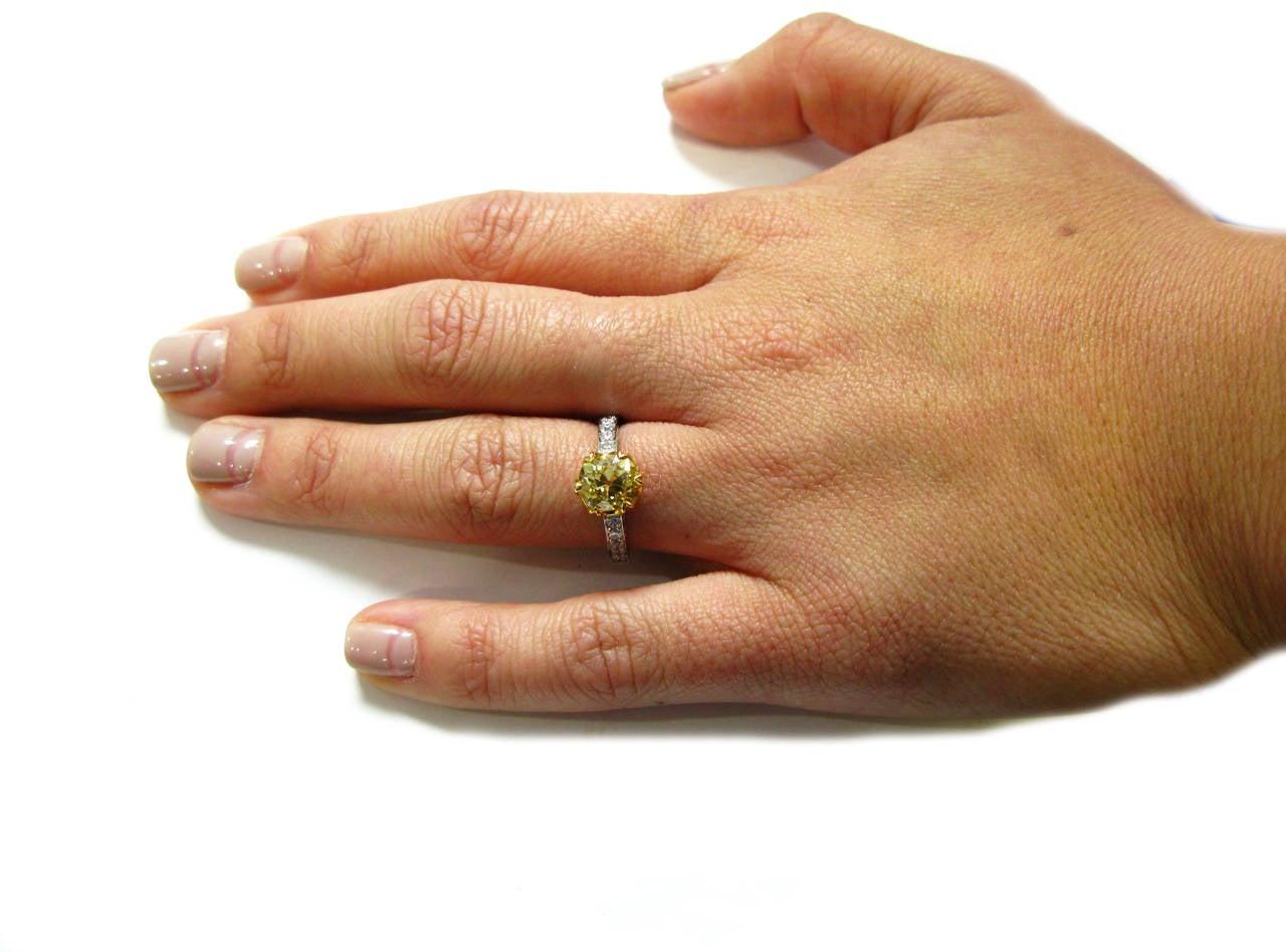 1.92 Carat GIA Fancy Intense Yellow Old Mine Brilliant Diamond Ring 7