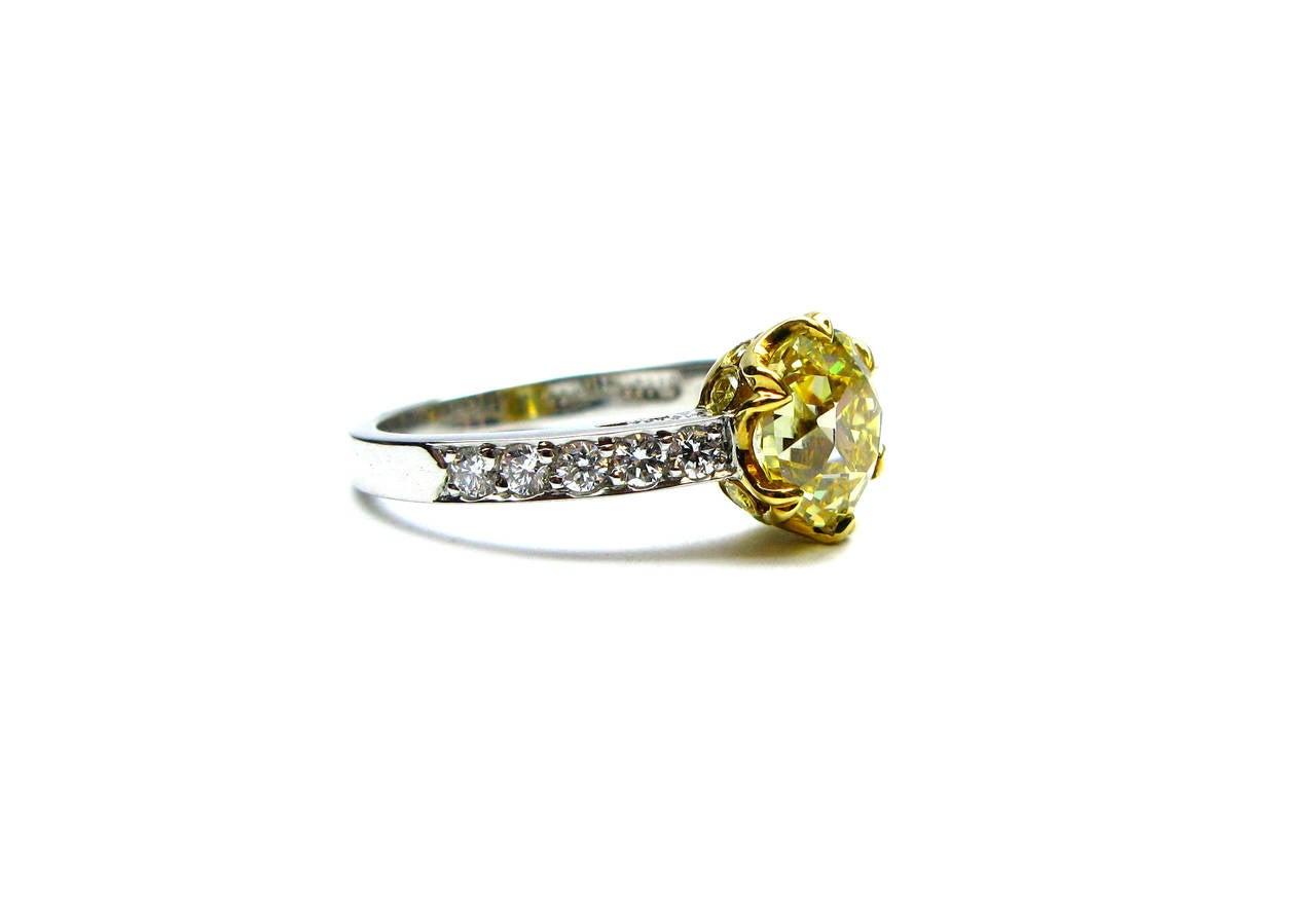 1.92 Carat GIA Fancy Intense Yellow Old Mine Brilliant Diamond Ring 2