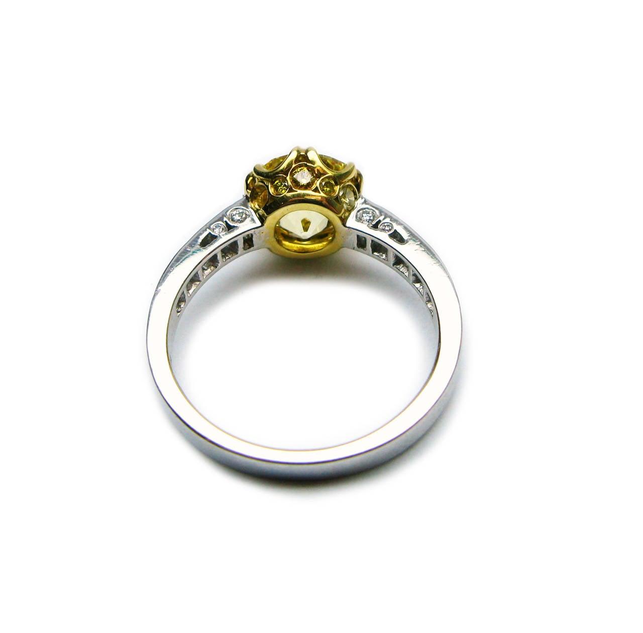 1.92 Carat GIA Fancy Intense Yellow Old Mine Brilliant Diamond Ring 4