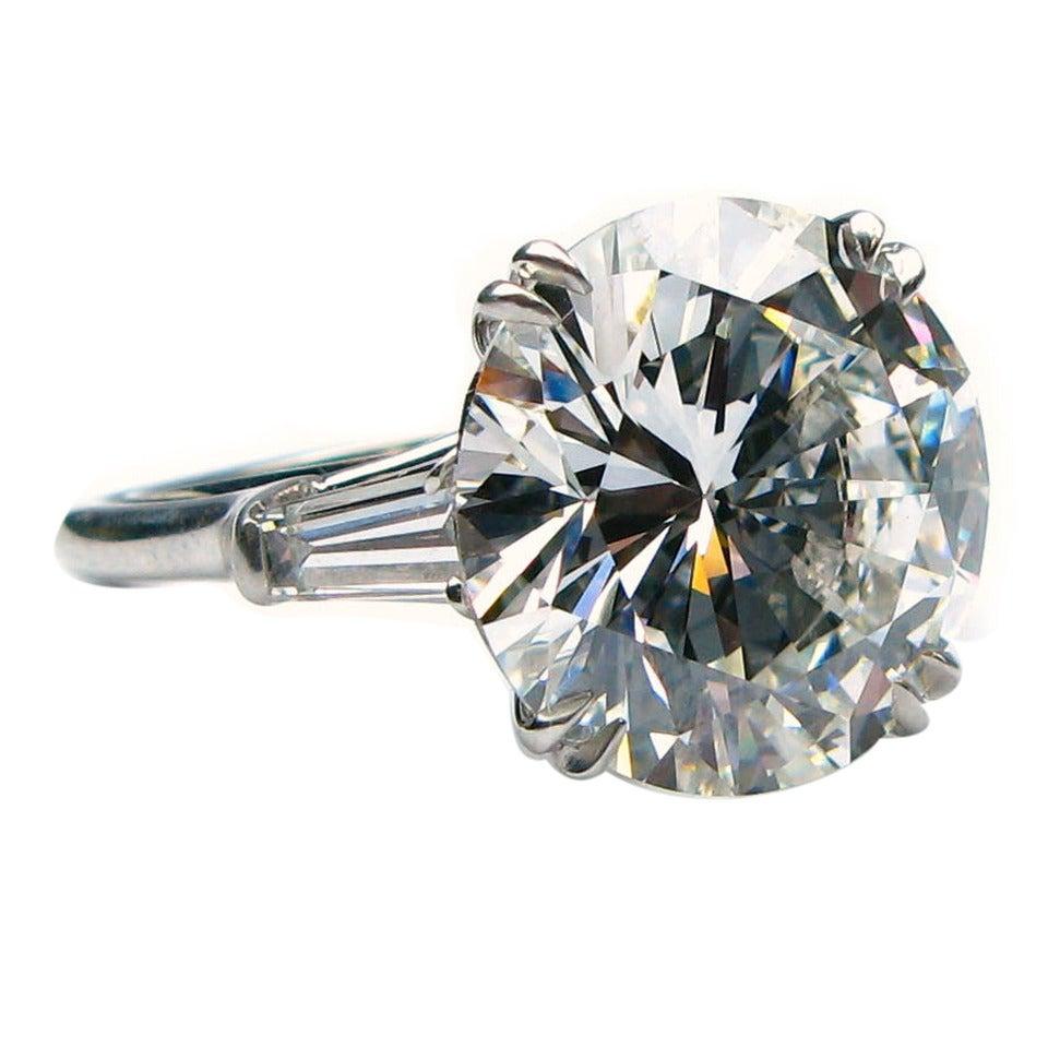 Harry Winston 9.31 Carat Diamond Platinum Ring For Sale