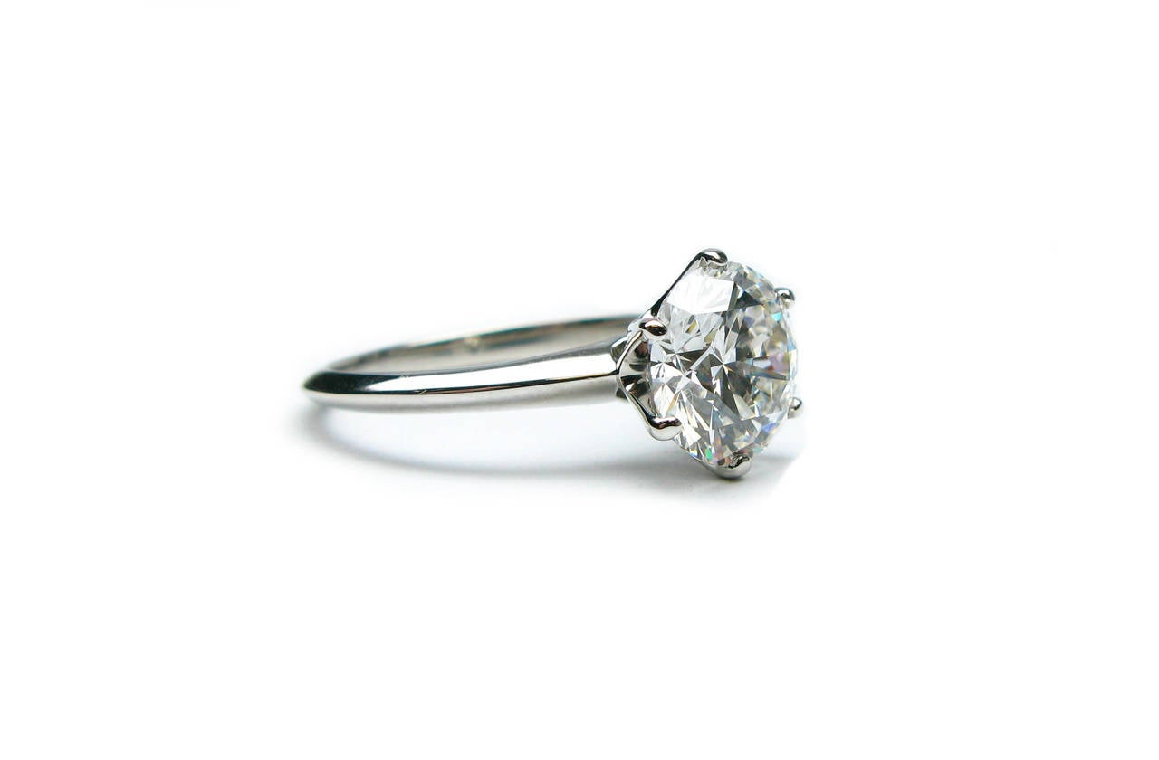 Tiffany and Co 2 18 Carat GIA Cert Round Diamond Platinum Ring For Sale at 1