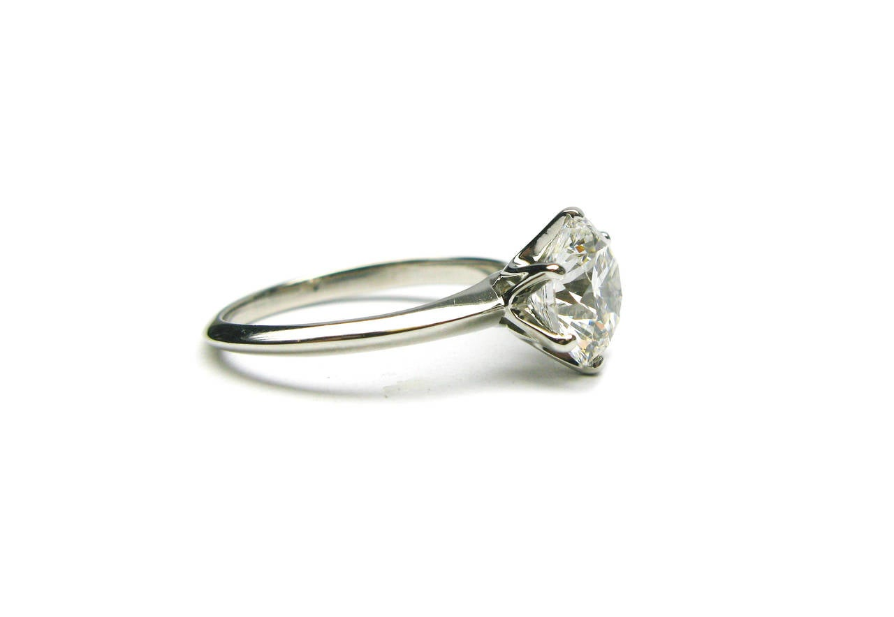 Tiffany and Co 2 18 Carat GIA Cert Round Diamond Platinum Ring at 1stdibs
