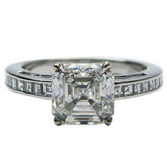 2.06 Carat GIA Ceartified F VS2 Asscher Cut Diamond Platinum Ring