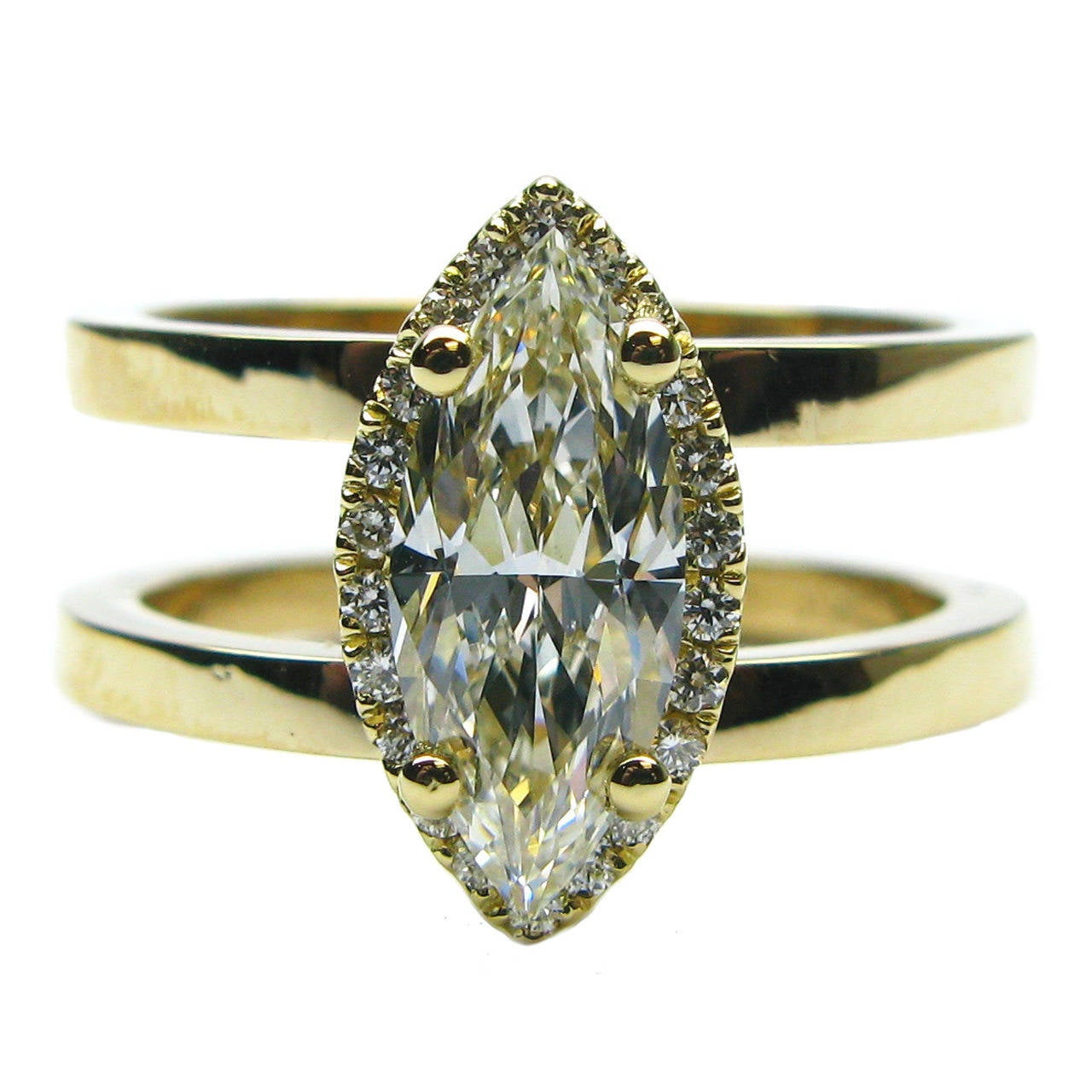 Large Double Ring Chandelier At 1stdibs: 1.08 Carat Marquise Diamond Frame Double Band Ring At 1stdibs