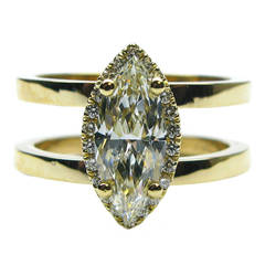 1.08 Carat Marquise Diamond Frame Double Band Ring