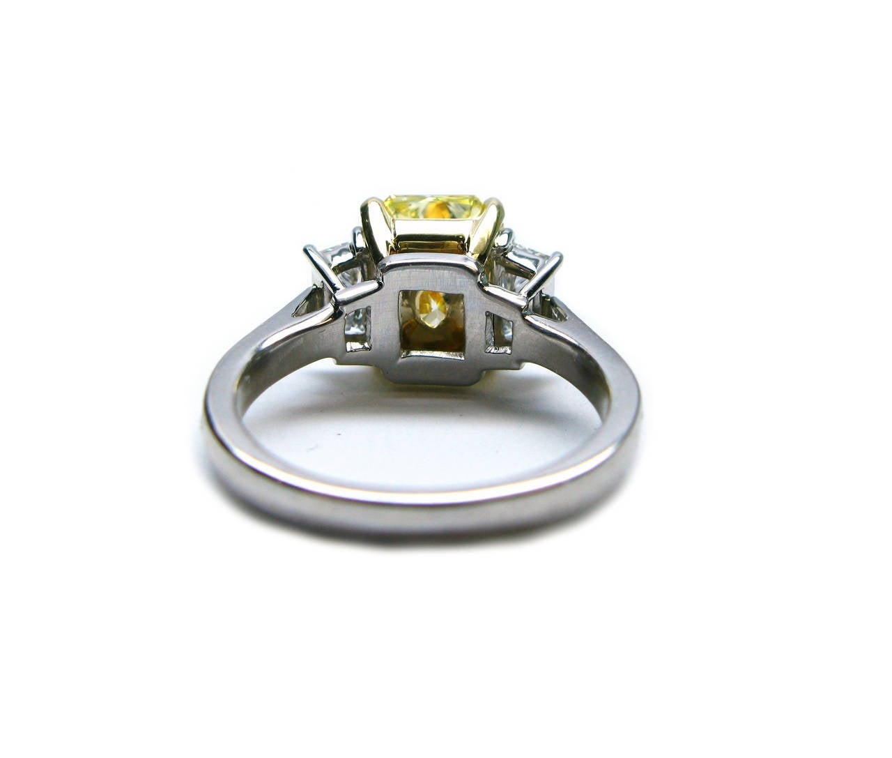 2.96 Carat Fancy Intense Yellow Radiant GIA Cert Diamond Gold Platinum Ring 4
