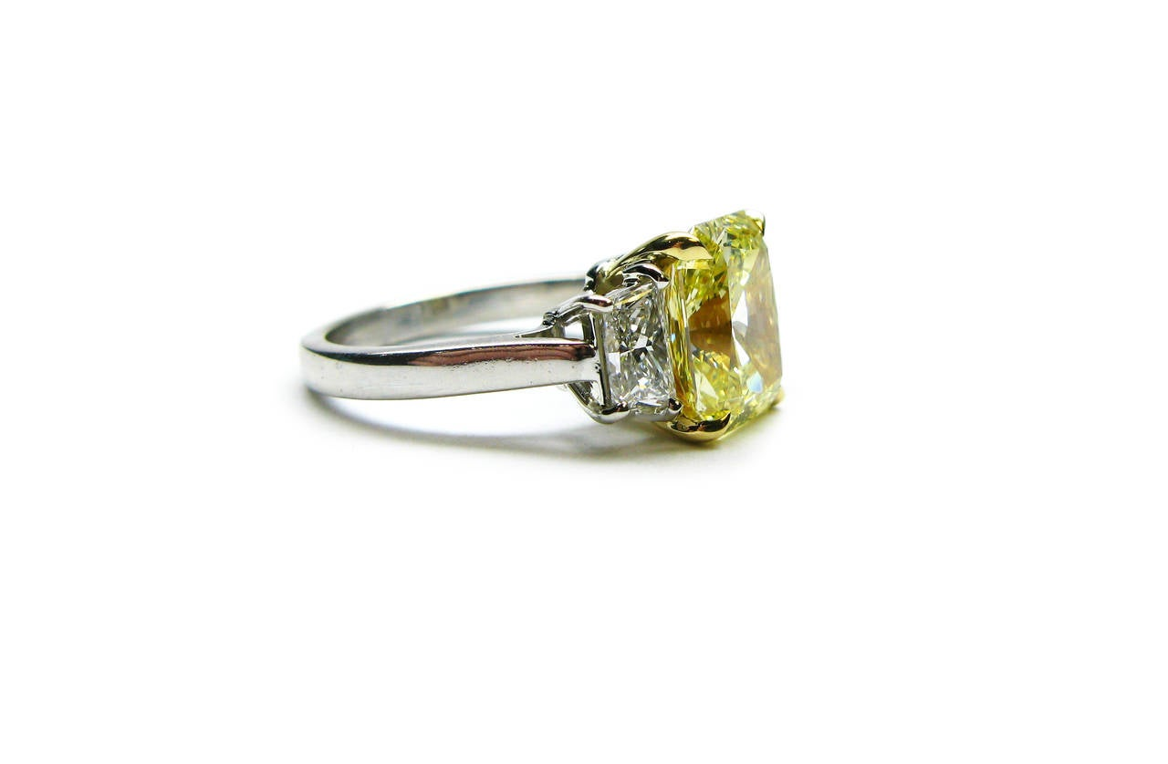 2.96 Carat Fancy Intense Yellow Radiant GIA Cert Diamond Gold Platinum Ring 3