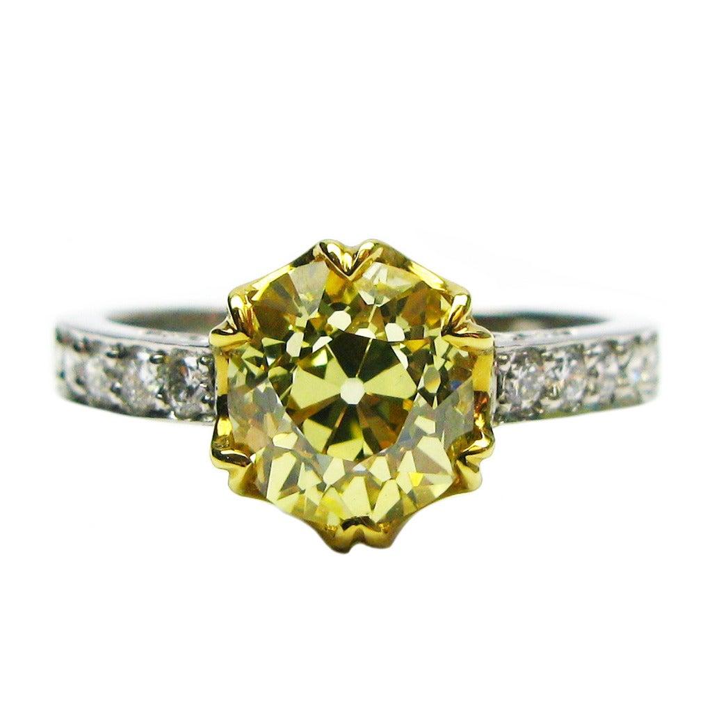 1.92 Carat GIA Fancy Intense Yellow Old Mine Brilliant Diamond Ring 1