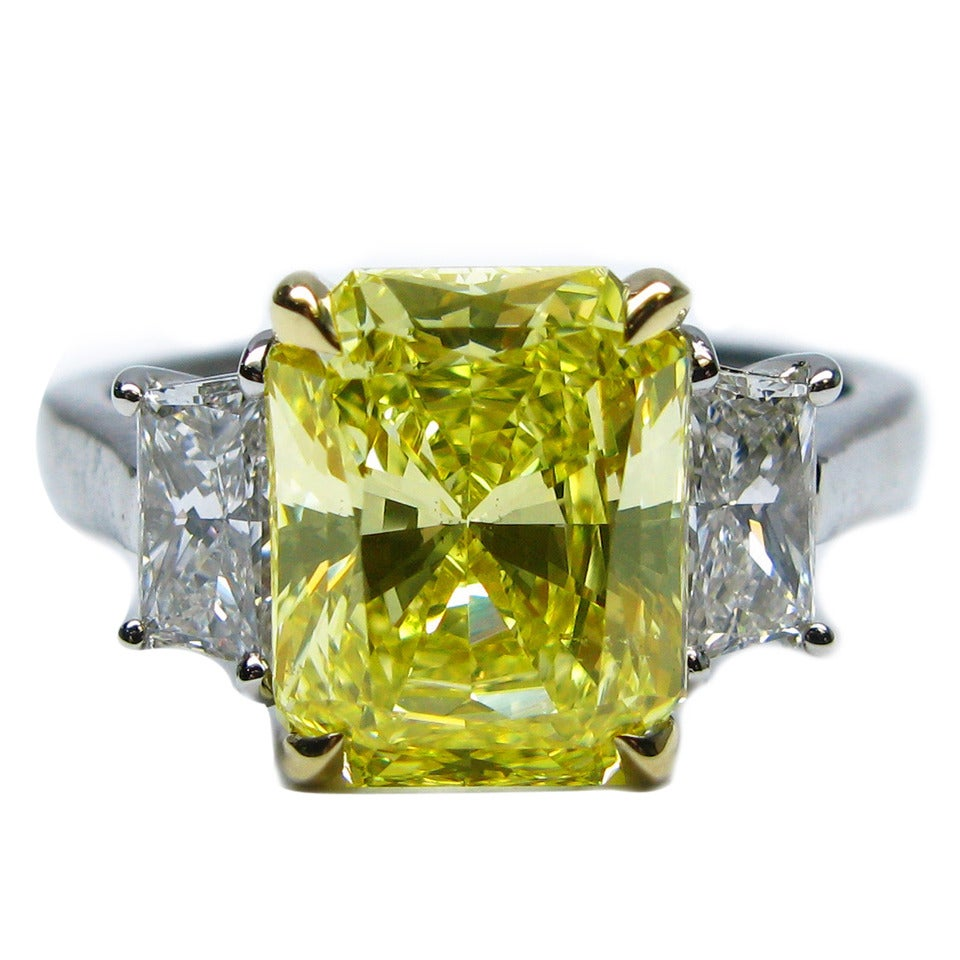 2.96 Carat Fancy Intense Yellow Radiant GIA Cert Diamond Gold Platinum Ring 1