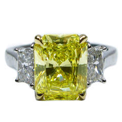 2.96 Carat Fancy Intense Yellow Radiant GIA Cert Diamond Gold Platinum Ring