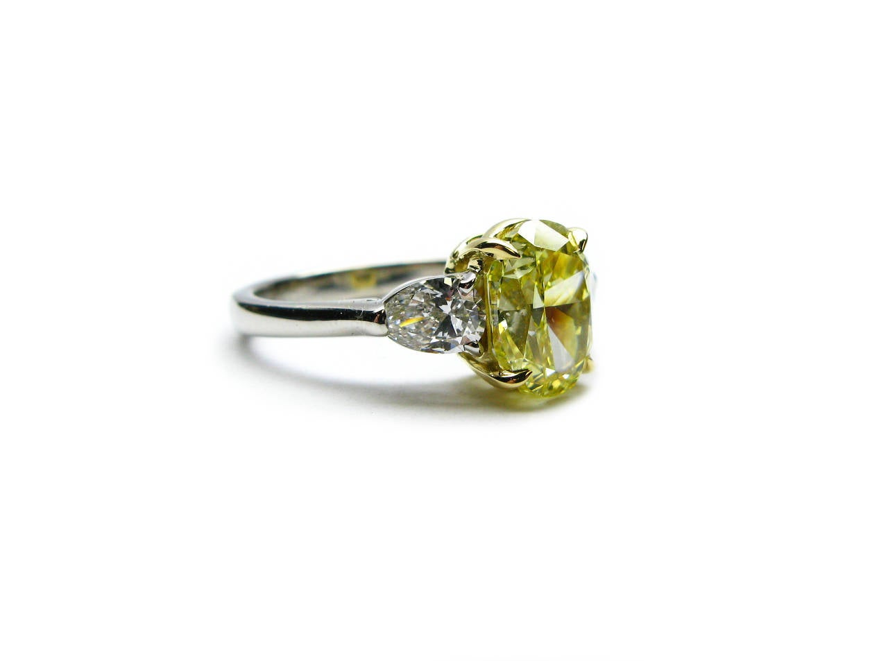 2 50 Carat Fancy Intense Yellow Oval Diamond Ring at 1stdibs