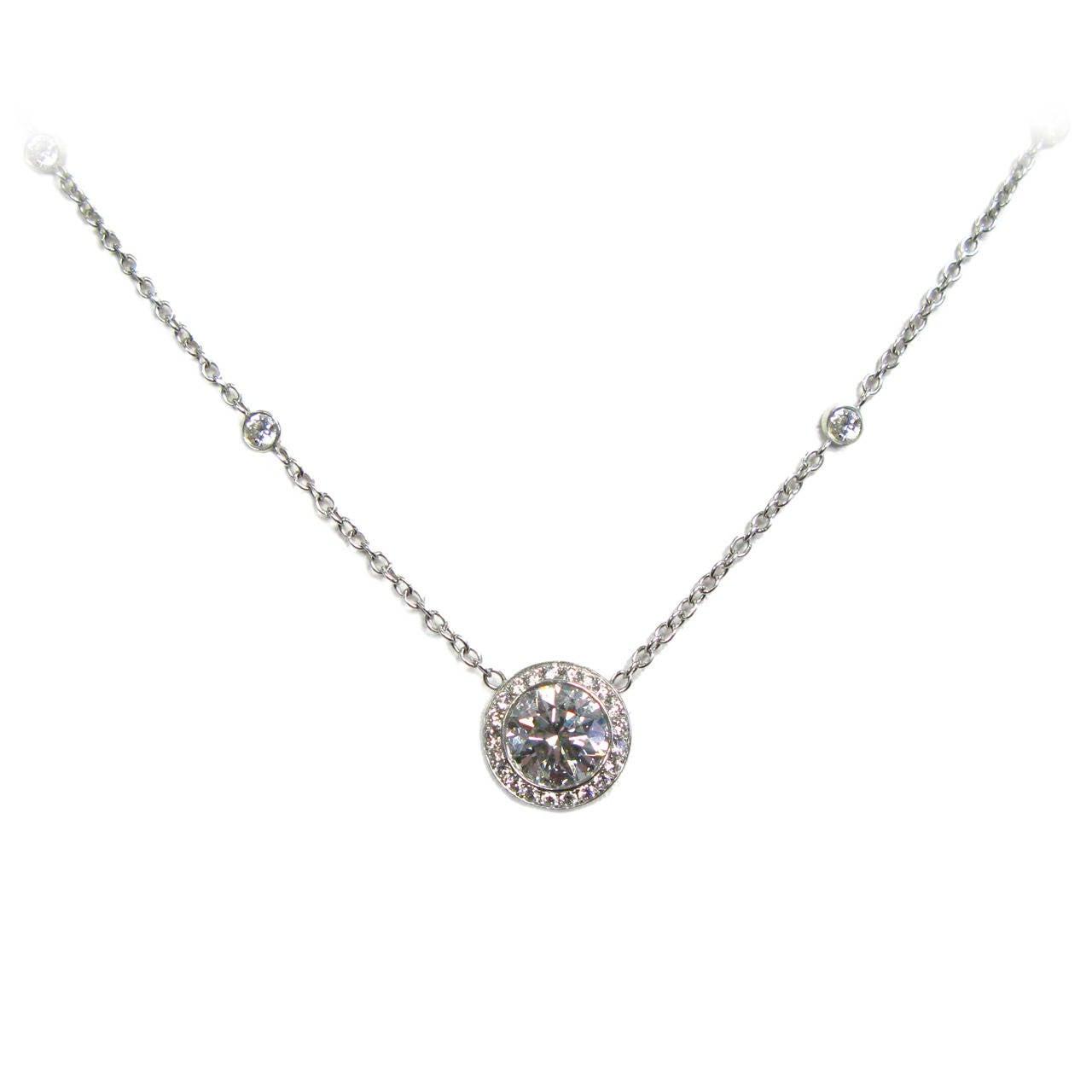 1.71 Carat GIA Cert Round Brilliant Diamond Platinum Frame Pendant For Sale