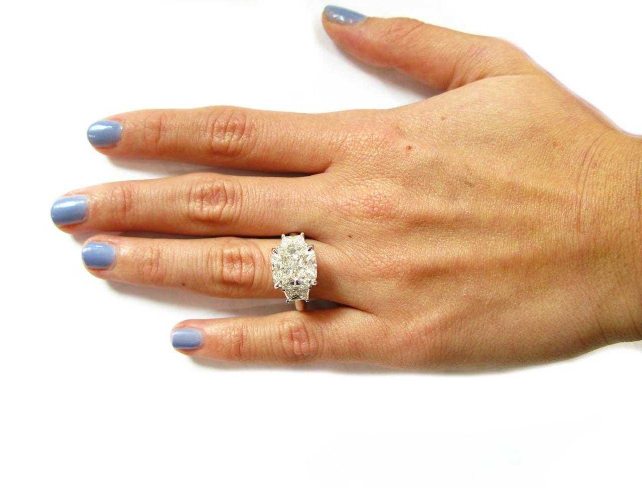 5.12 Carat Cushion Cut Diamond and Platinum Ring 4
