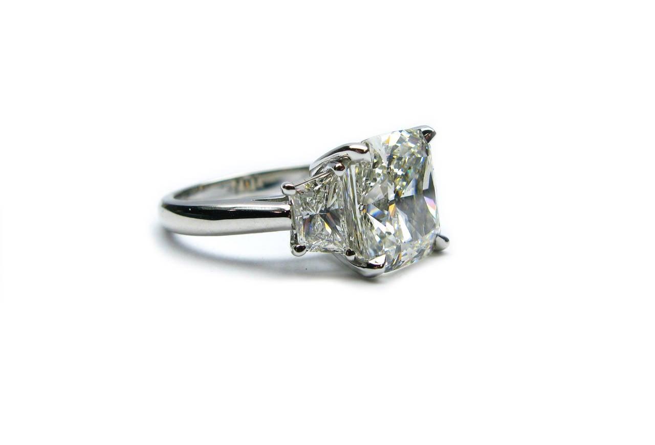 5.12 Carat Cushion Cut Diamond and Platinum Ring 2