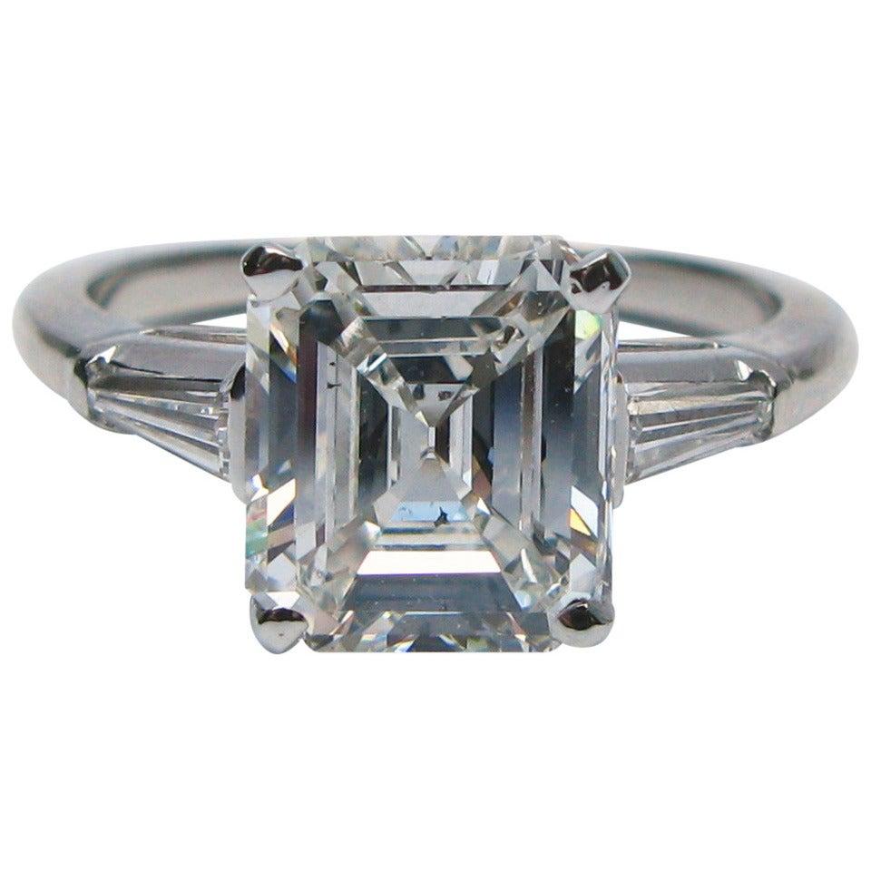 2.37 Carat Emerald Cut Diamond Platinum Ring GIA