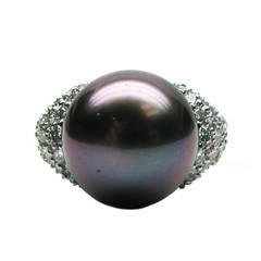 Kurt Wayne Pearl & Diamond Platinum Cocktail Ring