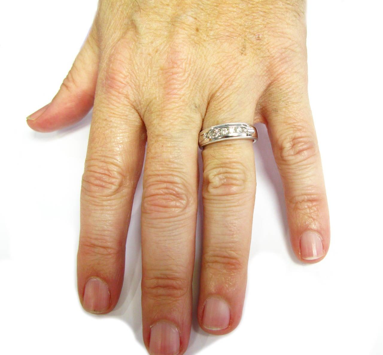 Mens Milgrain Diamond Wedding Band For Sale at 1stdibs