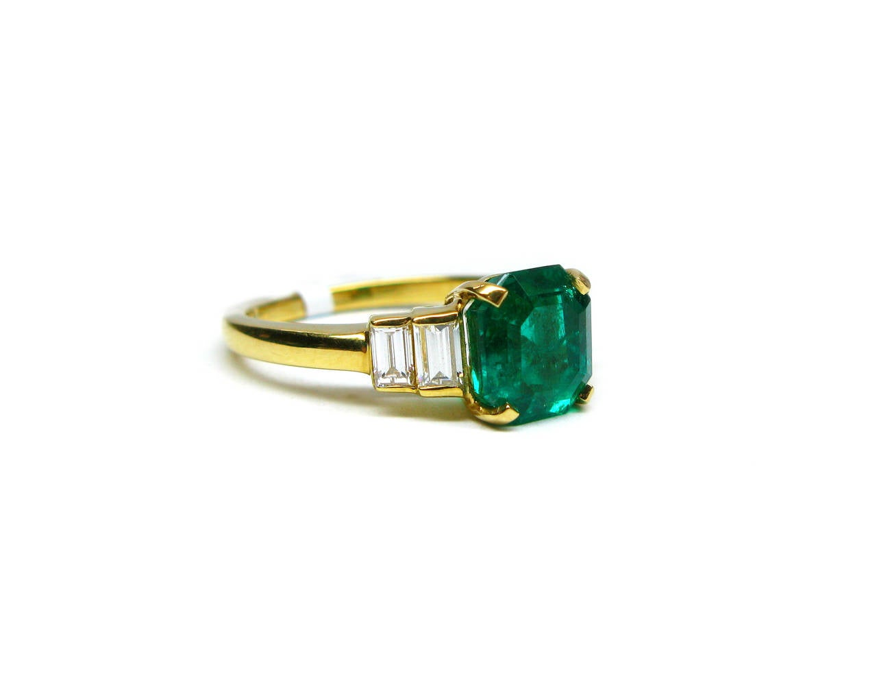 Kurt Wayne Emerald and Baguette Diamond Ring 2