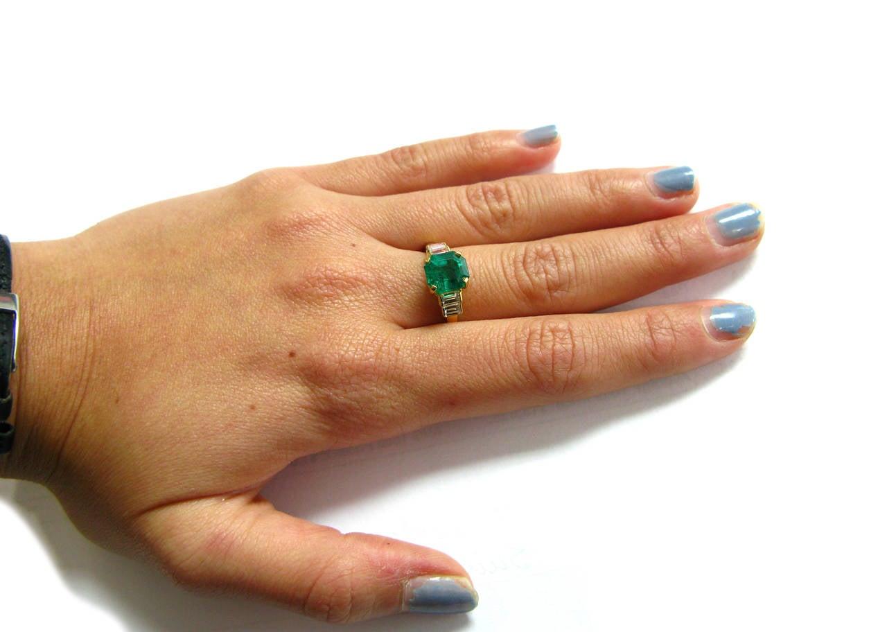 Kurt Wayne Emerald and Baguette Diamond Ring 4