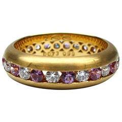 Kurt Wayne Pink Sapphire & Diamond Gold Band