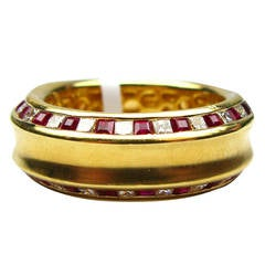 Kurt Wayne Ruby & Diamond Gold Band