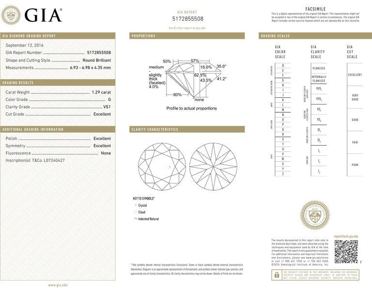 Tiffany & Co. 1.29 Carat GIA Certified Diamond Platinum Engagement Ring 8